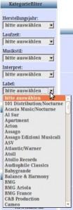 Kategoriefilter Frontend ein Filter ausgewählt